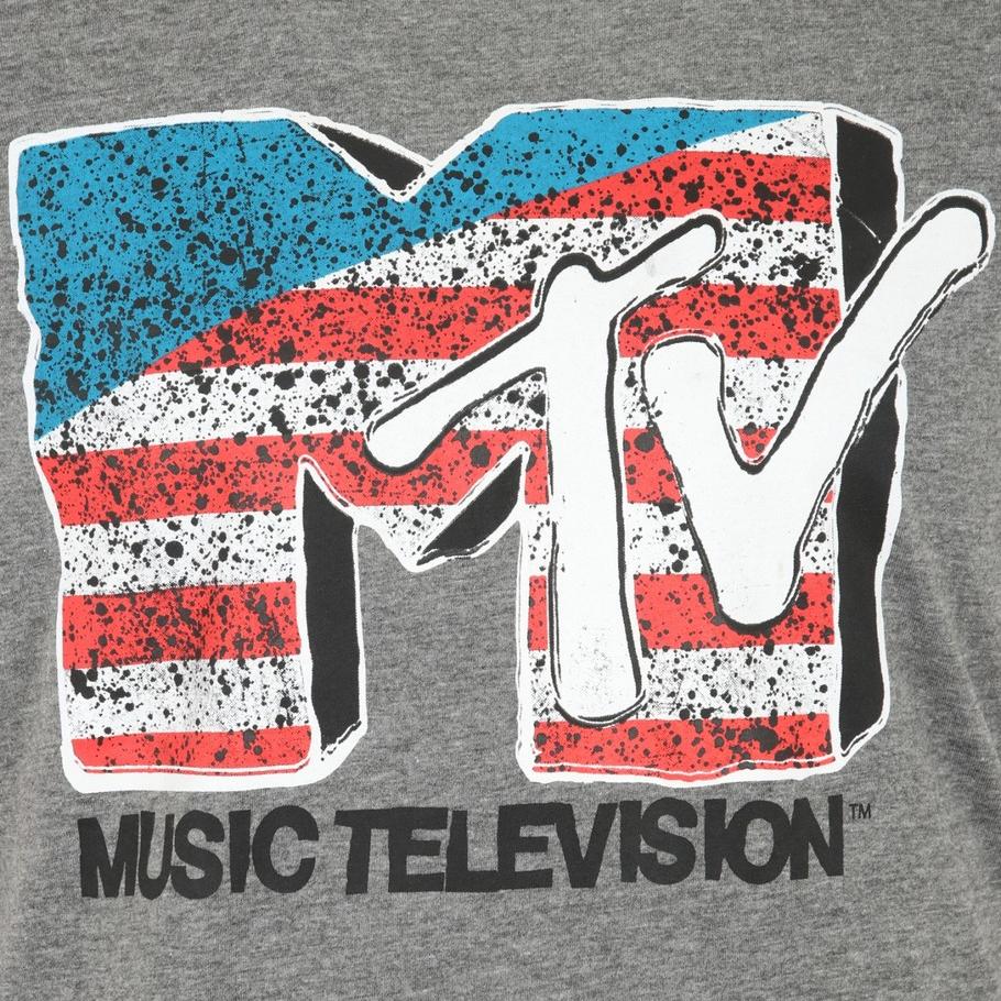 MTV American Flag Herren T-Shirt für 90er Kids Grau @outlet46
