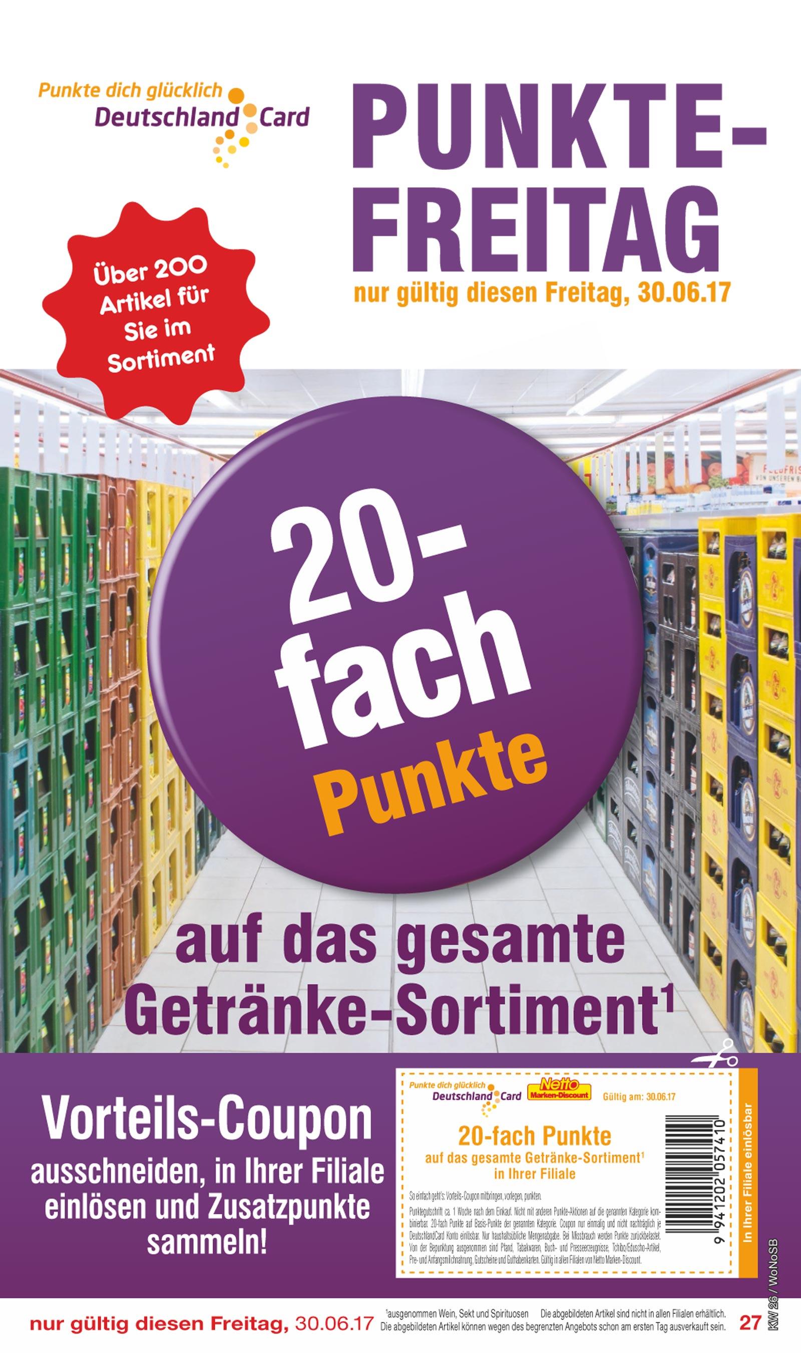 Netto MD / 20 fach Deutschlandcard Punkte auf das gesamte Getränkesortiment nur am 30.06
