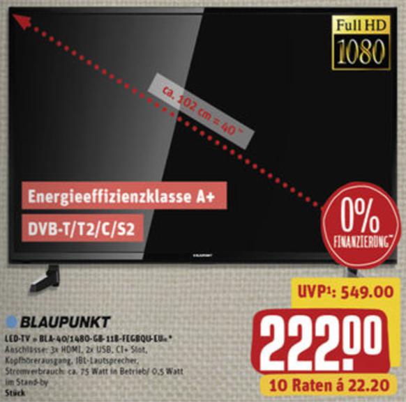 Blaupunkt BLA-40/148O für nur 222€ (am 26.06. zusätzlich 10-fach PB) [Rewe Center]