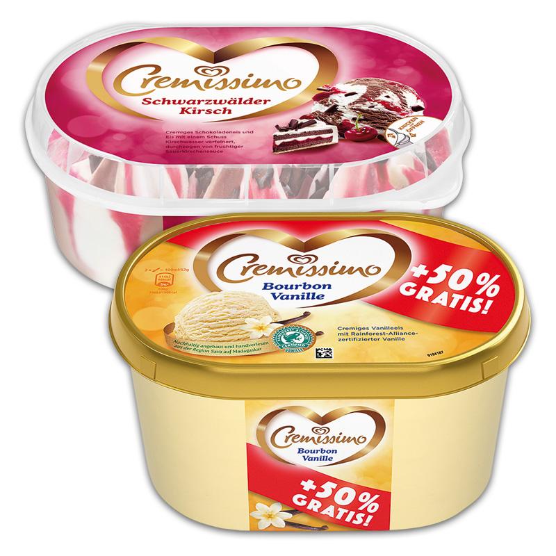 [Norma] Langnese Cremissimo, verschiedene Sorten, die 900-ml oder 1500-ml-Schale für 1,88 Euro