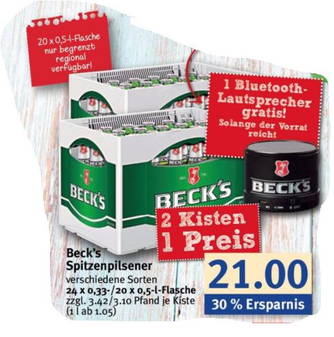 Combi - 2 Kisten Becks, BT Lausprecher gratis