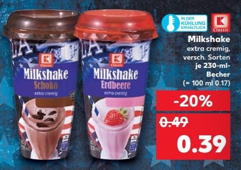 Kaufland Eigenmarke Milkshake versch. Sorten 230ml für nur 0,39€ (29.06.-05.07.)