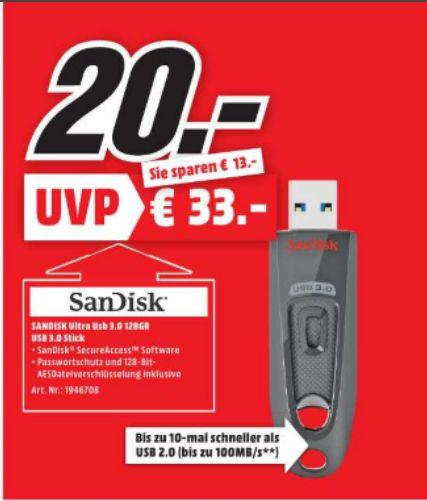 [Lokal Mediamarkt Speyer-Nur Heute) SanDisk Ultra 128GB USB-Stick USB 3.0 bis zu 100MB/Sek für 20,-€