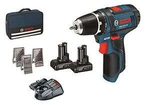 (ebay)  Details zu  Bosch Akkuschrauber GSR 12 V-15 mit 2x 4,0 Ah + Bohrer und Bitsatz in Tasche  für 99,- euro anstatt 124,- euro
