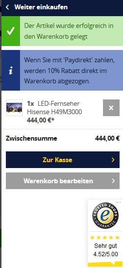 Technikdirekt.de: 15 % Rabatt ohne MBW bei Zahlung mit paydirekt