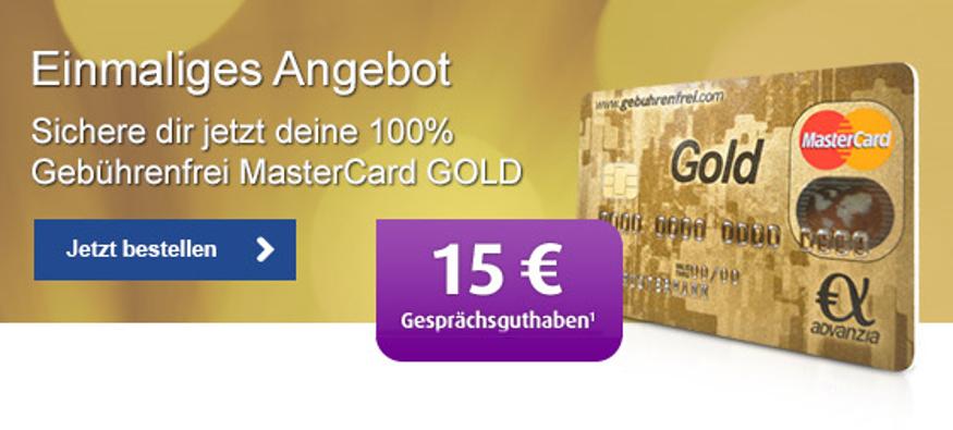(Netzclub) Gebührenfreie MasterCard Gold + 15€ Guthaben