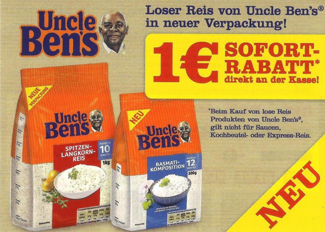 Uncle Ben's -1,00€ Sofort-Rabatt-Coupon auf 1x Uncle Bens loser Reis in neuer Verpackung [Bundesweit]