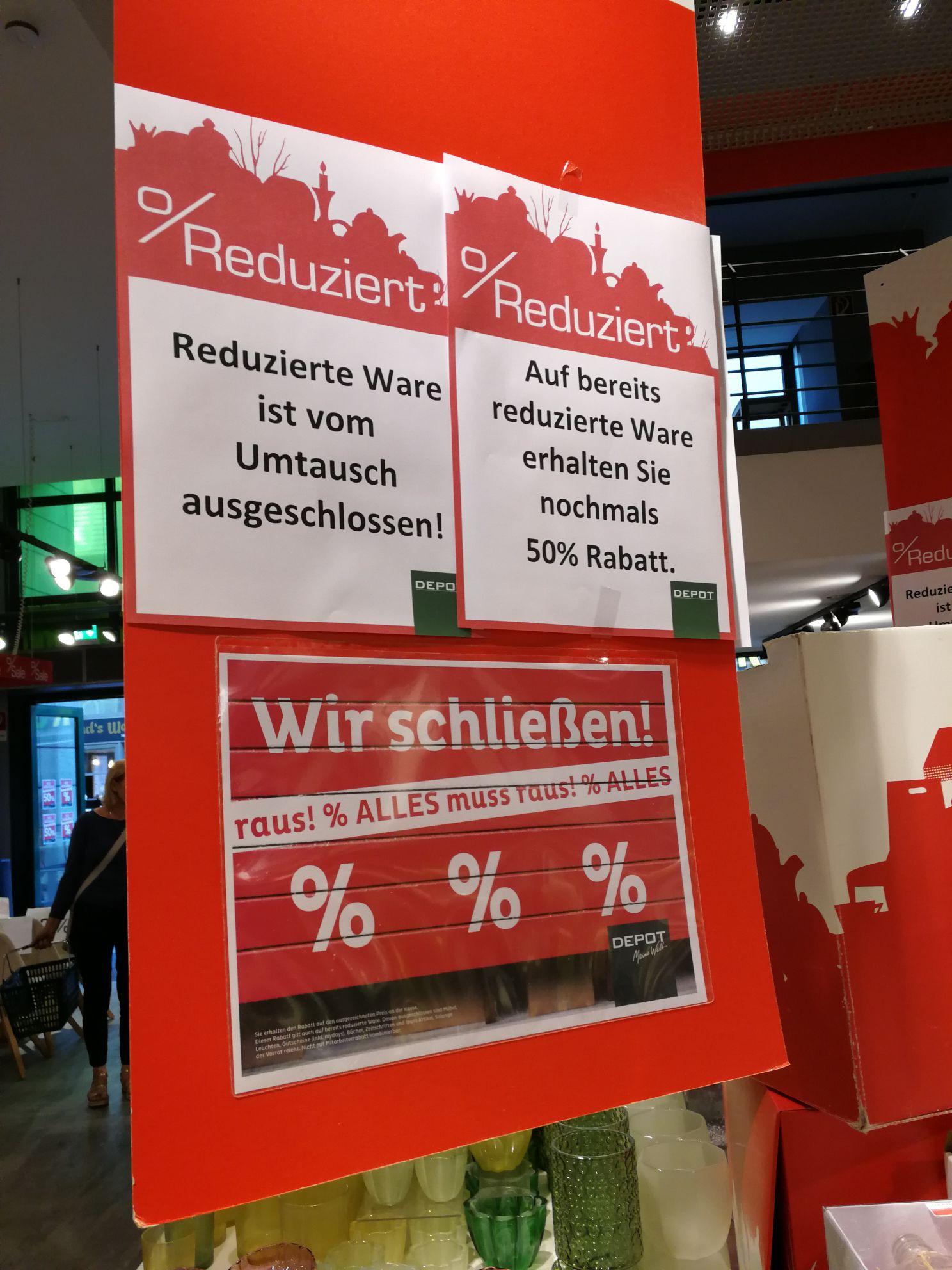 Depot Bochum schließt 50% auf alles