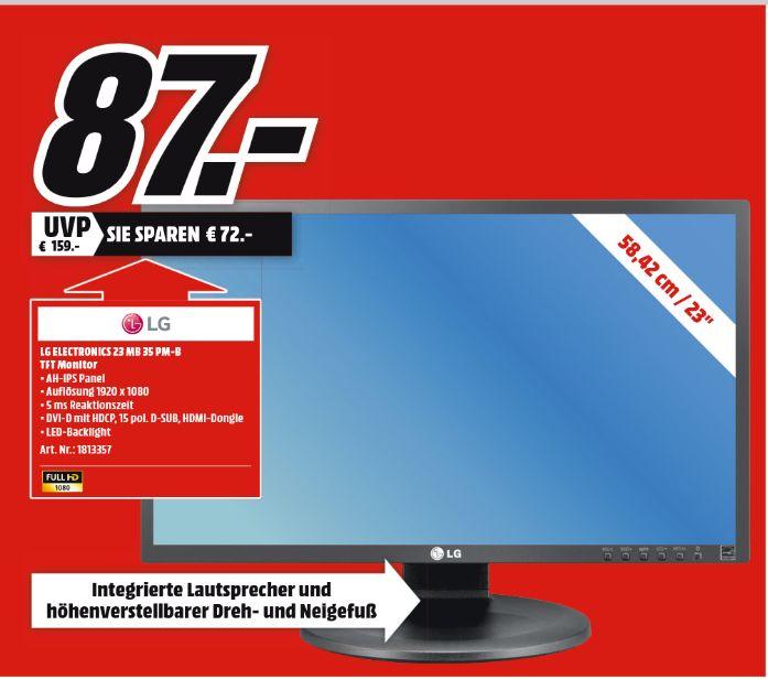 [Lokal Mediamarkt Plauen ab 28.06] LG 23MB35PM-B 23 Zoll Monitor (1x 15 Pin D-Sub, 1x DVI-D mit HDCP, 1x 3.5 mm Klinkenanschluss, 1x PC Audio Eingang Kanäle, 5 ms Reaktionszeit, AH-IPS Displayfür 87,-€