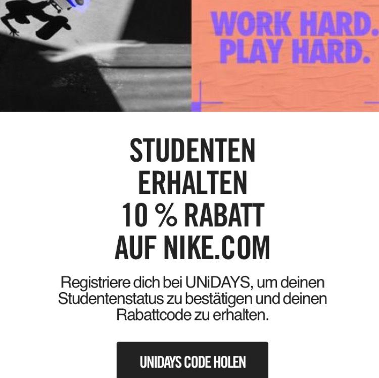Langzeit 10% Studentenrabatt bei Nike.de
