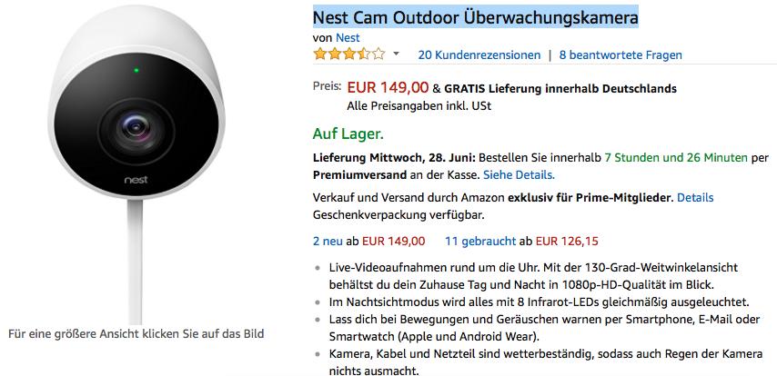 Amazon Prime - Nest Cam Indoor / Outdoor Überwachungskamera