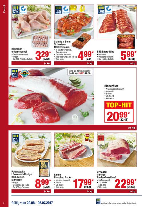 Argentinische Rinder-Steakhüfte 11,76/kg (Endpreis) @METRO ab 29.06.2017