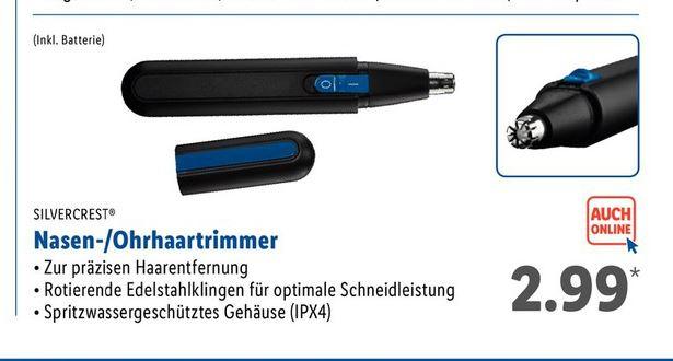 [LIDL] Silvercrest Nasen- /Ohrhaartrimmer (batteriebetrieben)