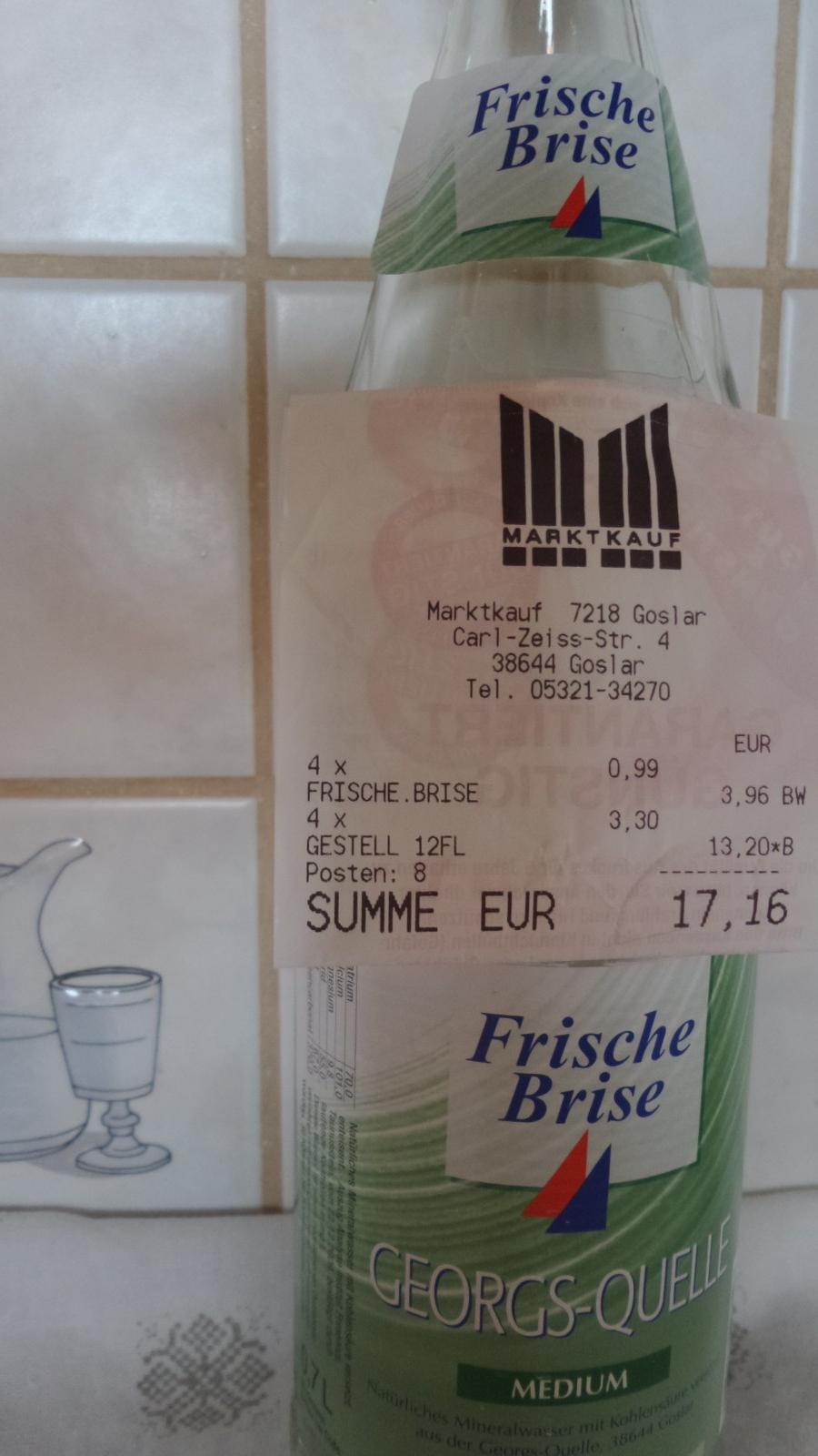"""(REGIONAL) Mineralwasser """"Frische Brise"""" 12 x 0,7 Liter, jeden Donnerstag für 0,99€ (plus Pfand) im Marktkauf Goslar"""