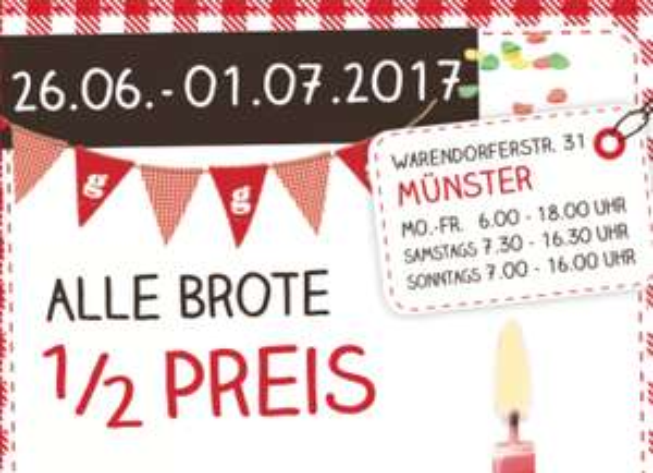 Geiping: alle Brote zum 1/2 Preis [Lokal Münster Warendorfer Str. 31] & [Lokal Kamen im Hornbach, Zollpost 6]