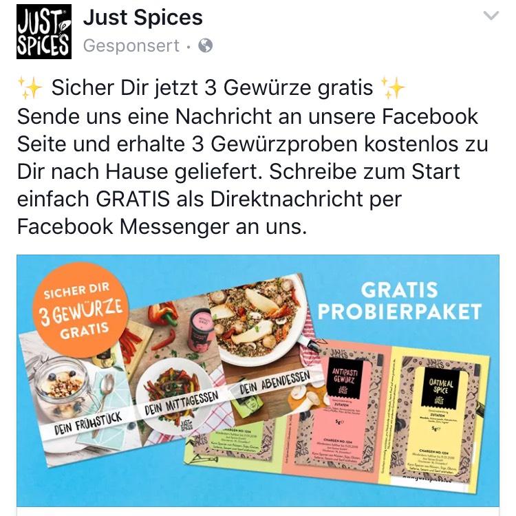 3 Gratis Gewürzproben von Just Spices über Facebook Messenger sichern