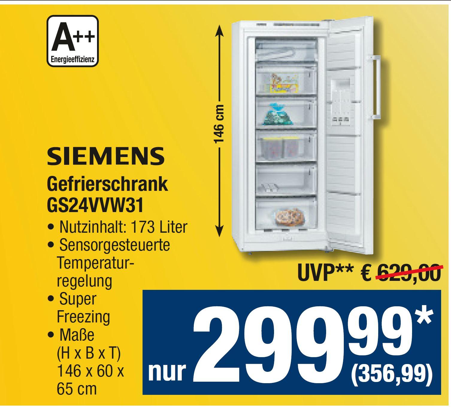 OFFLINE: Metro vom 29.06. - 12.07.  Siemens Gefrierschrank 173 Liter GS24VVW31 (A++) für 356,99 €