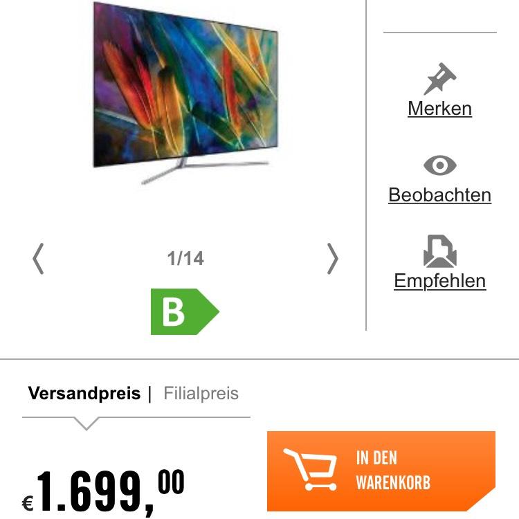 "Samsung QE55Q7F QLED TV 55"" -19% Cashback"