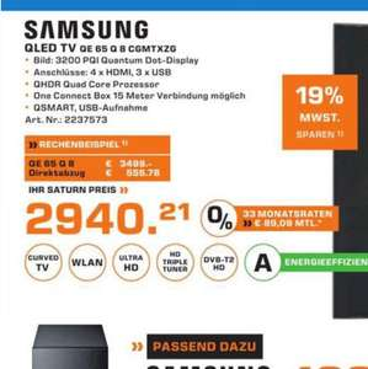 Samsung QLED 65 Q 8 C i.V.m. 19% aktion