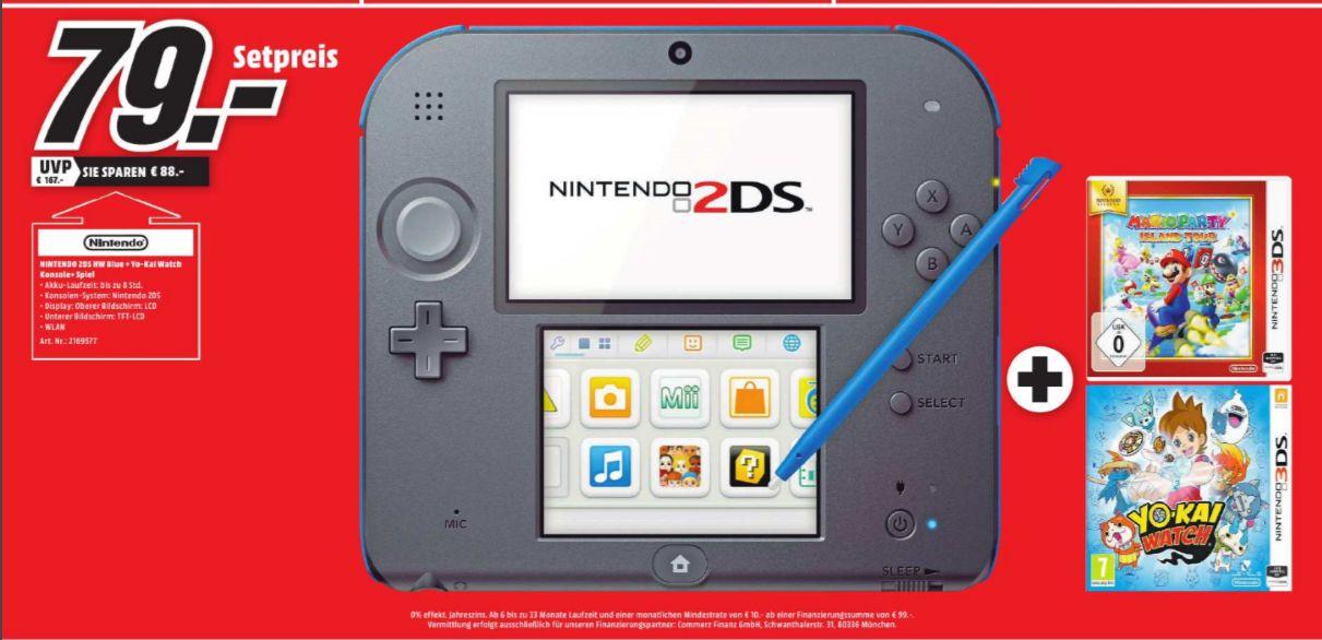 [Lokal Mediamarkt Main-Taunus Zentrum] Nintendo 2DS Spielekonsole Schwarz, Blau inklusive YO-KAI-WATCH+Mario Party: Island Tour (3DS) für 79,-€