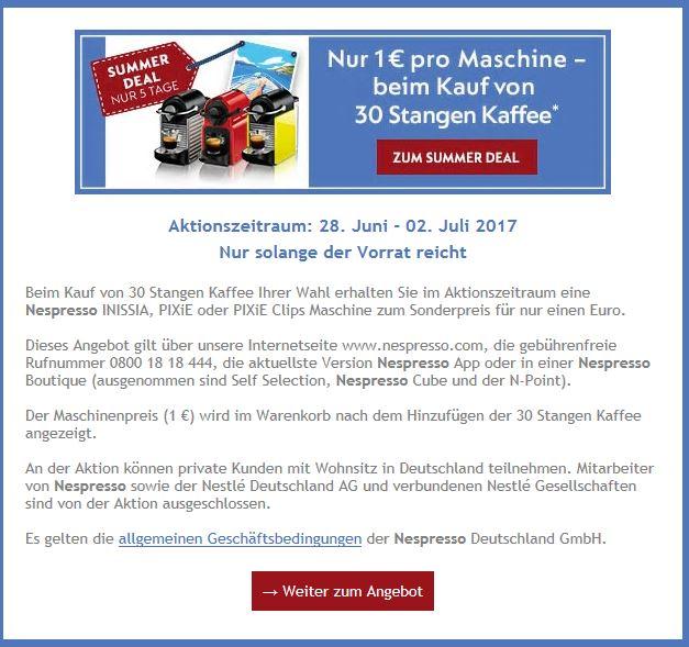 1€ für eine Nespresso Maschine beim Kauf von 30 Stangen auf Nespresso.com oder in einer Nespresso Boutique
