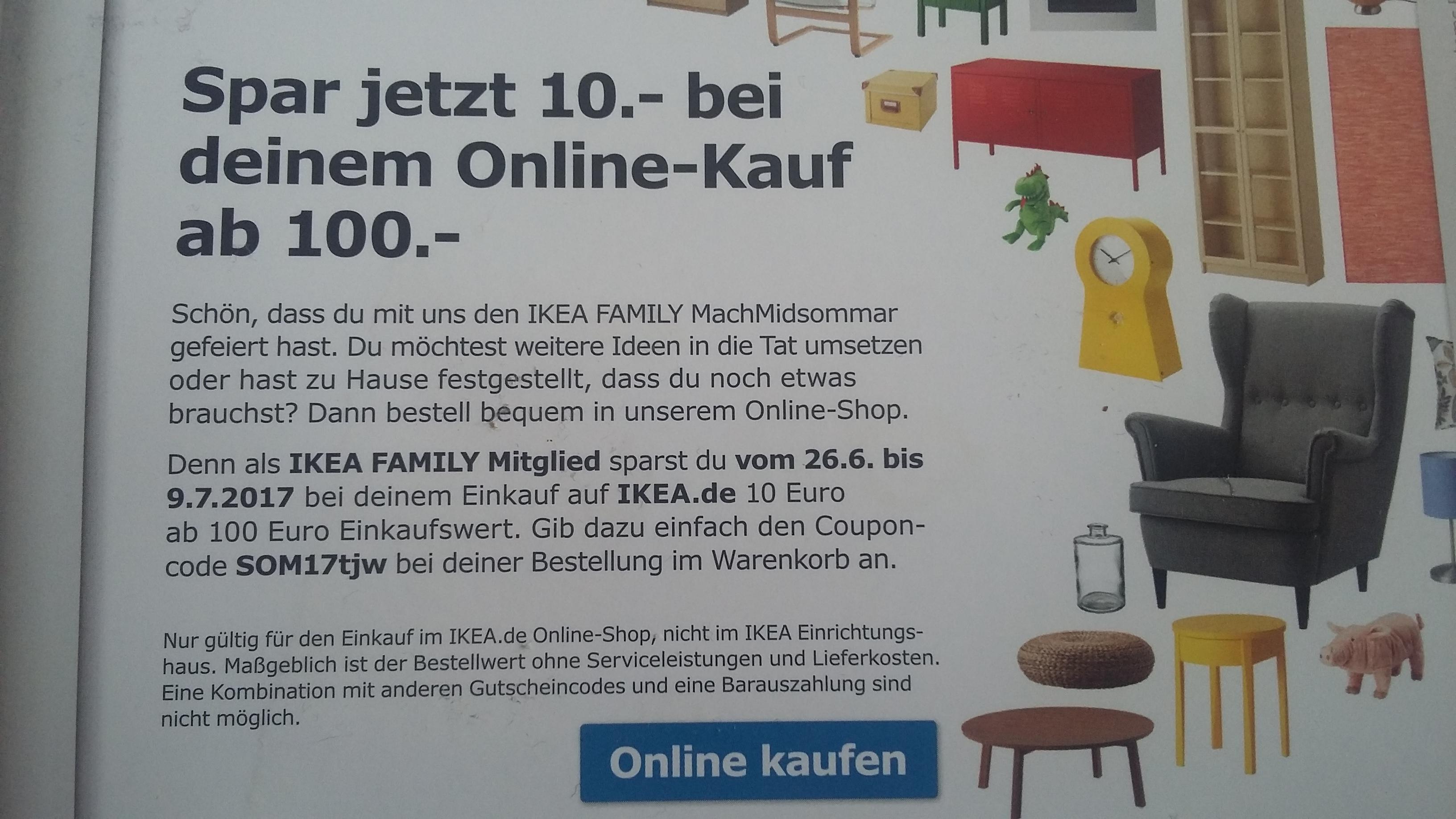 IKEA.de 10Euro Gutschein (100MBW) für Ikea Family Mitglieder