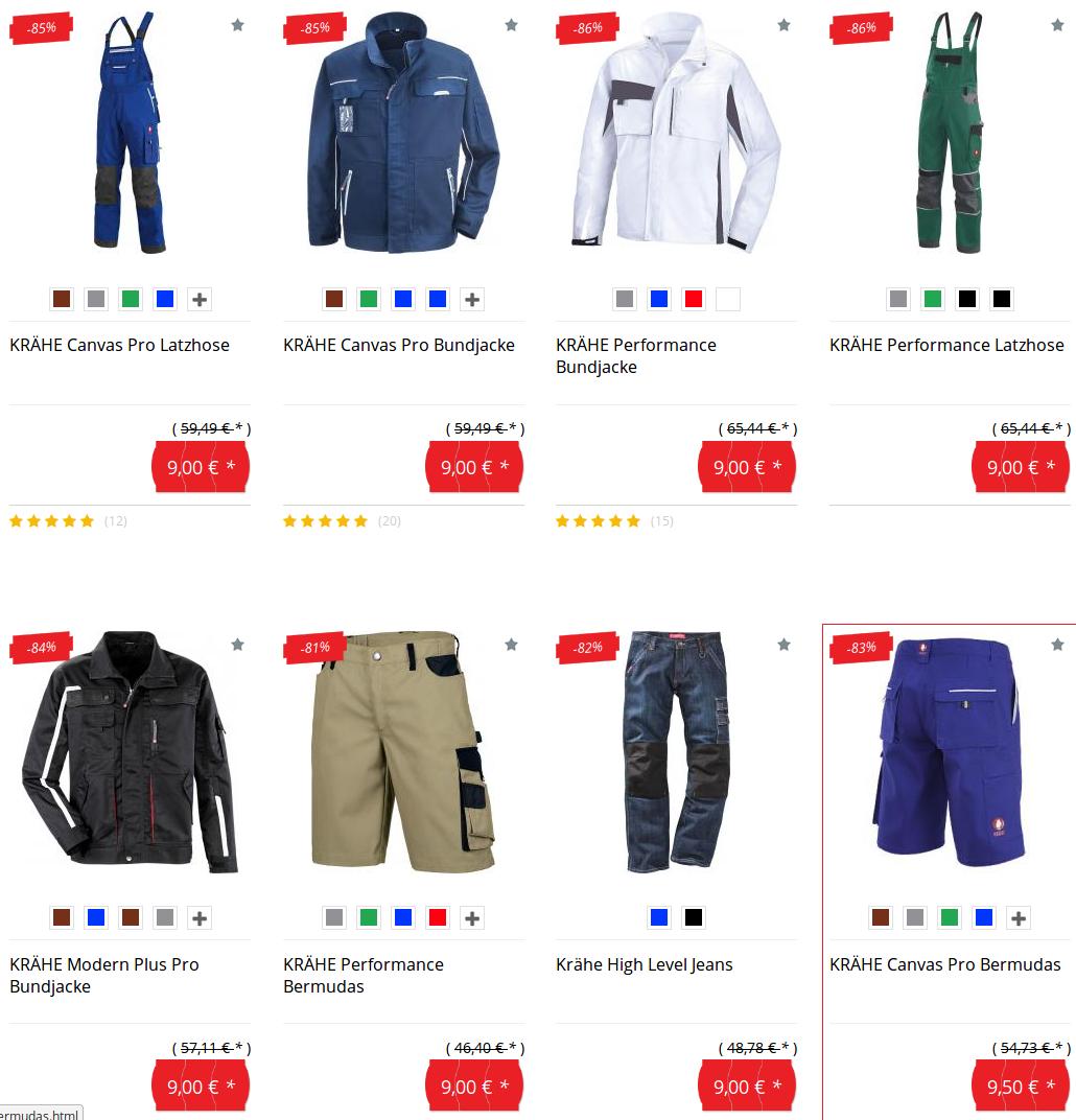 KRÄHE-Arbeitsjacken für 9 Euro @arbeitskleidung-billiger.de