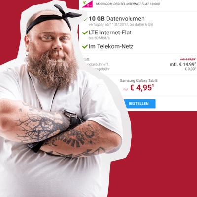 mobilcom-debitel LTE (4-10 GB) Datenflats im Telekom-Netz ab 9,99 € / Monat + Samsung Galaxy Tab E 9.6 3G für 5 € Zuzahlung oder 50 € Amazon *UPDATE*
