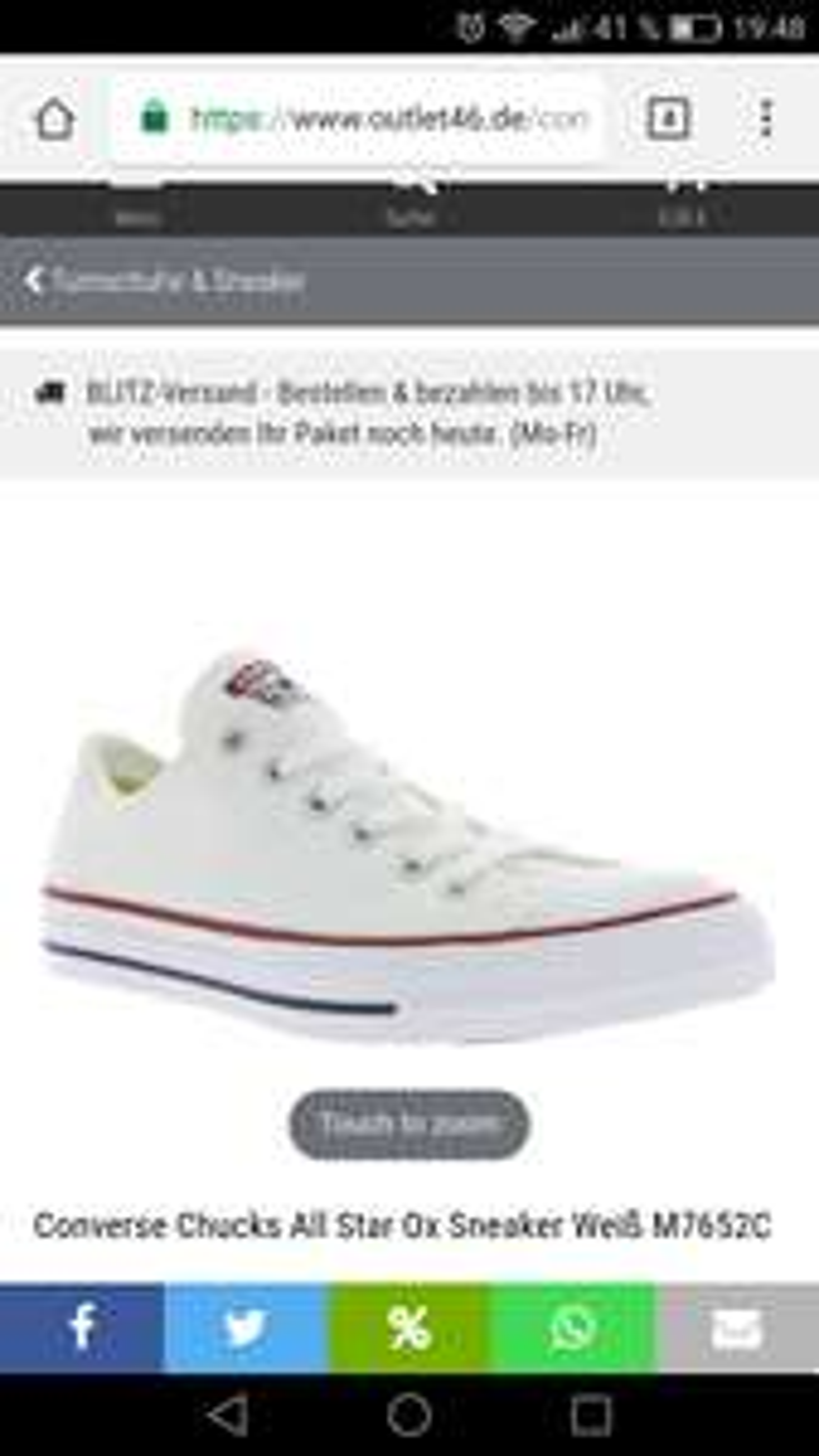 Converse Sneakers für die ganze Familie je 34,99 (Outlet 46)**