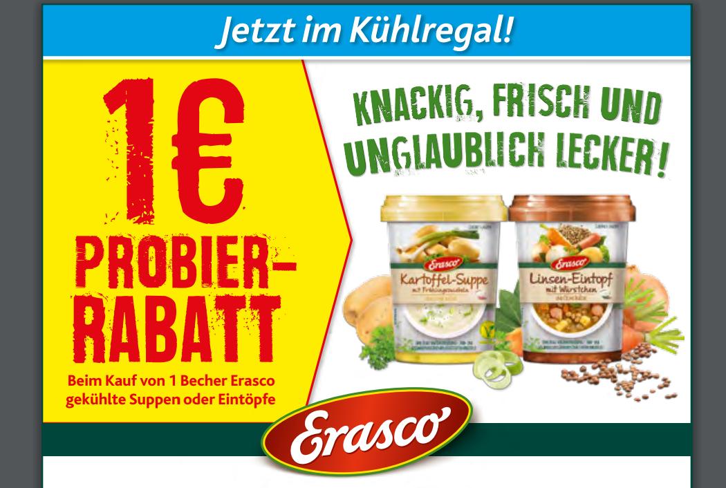 Neuer -1,00€ Erasco Coupon zum Ausdrucken