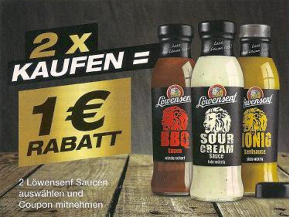 Neuer -1,00€ Regal-Coupon auf 2x Löwensenf Saucen [Bundesweit]