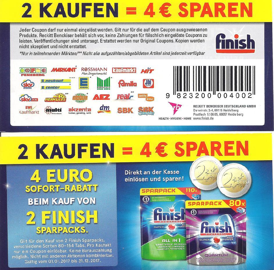 Neuer -4,00€ Coupon für 2x Finish Sparpacks [Bundesweit]
