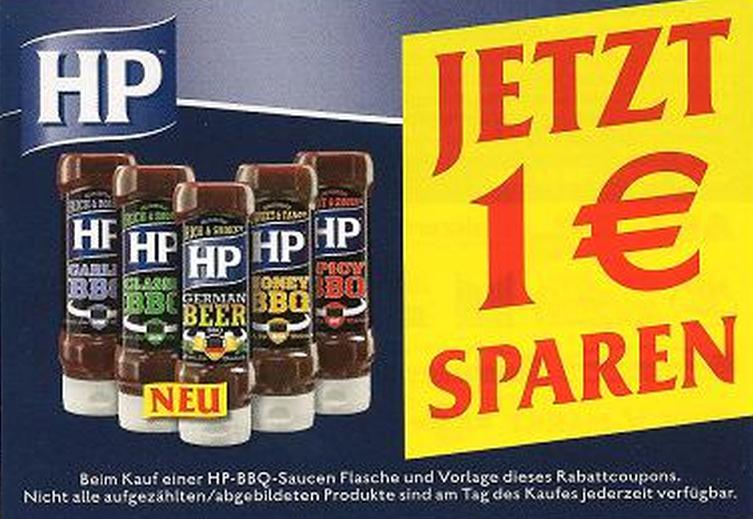 Neuer -1,00€ Coupon auf HP-BBQ-Saucen [Bundesweit]