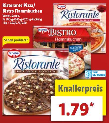 [Lidl] Dr. Oetker Ristorante Pizza oder Bistro Flammkuchen für 1,79€