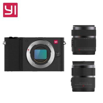 Original YI M1 WiFi 4K Digital Micro Single Camera  -  DUAL LENS  BLACK, IMX269 Sensor 20MP 3 inch Touch Control Screen Max 512G SD Card