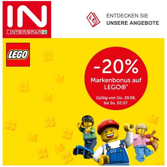 20% auf viele Lego Artikel bei interspar.at