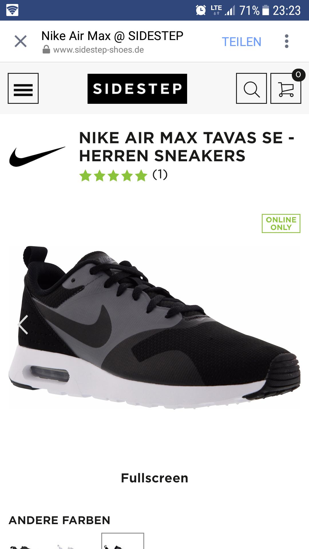 SIDESTEP Nike AIR MAX TAVAS SE Black 41-46 [59.90€]