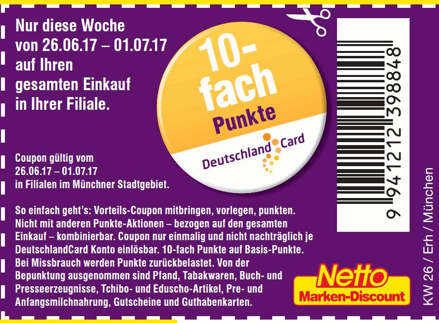 [lokal München Netto Deutschlandcard] 10fach-Punkte & Verlosung 1×100'000 Punkte