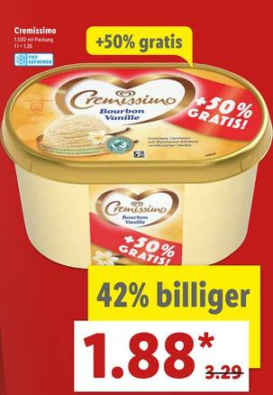 Langnese Cremissimo 1500ml (+50% Gratis) für nur 1,88€ ab 03.07.2017 [LIDL]