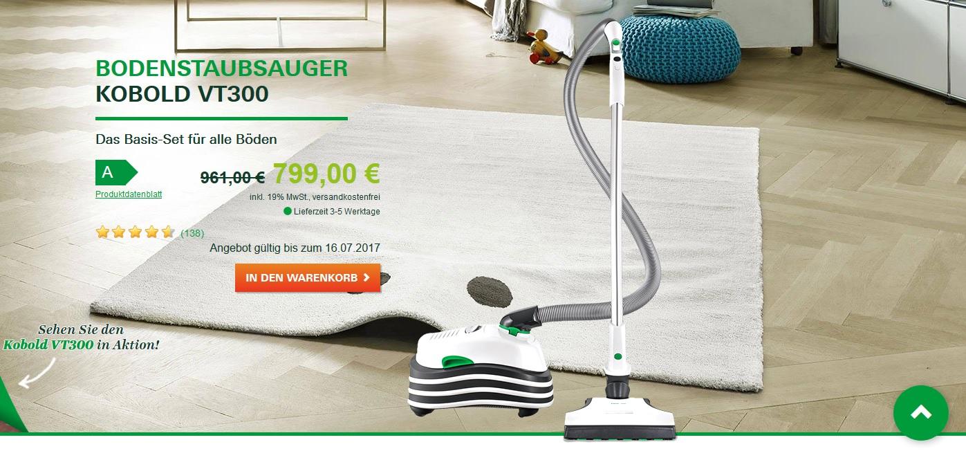 Vorwerk VT300 mit EB400 Automatik-Elektrobürste | Vorwerk Shop 799€ statt 961€ | bis 16.07.2017