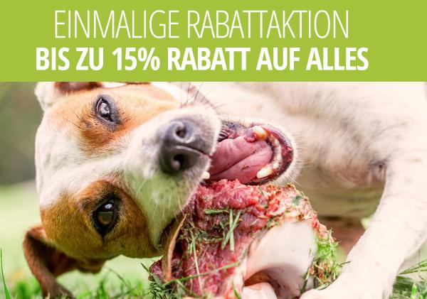Hundefutter: zusätzlich bis zu 15% auf bereits reduzierte Angebote. Bis zu 55% Gesamtrabatt möglich