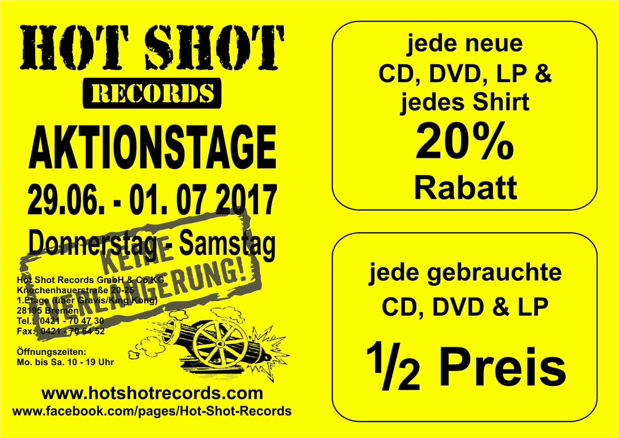 [LOKAL BREMEN] Hot Shot Records bis zu 50% Rabatt auf CD, DVD, LP und TShirts