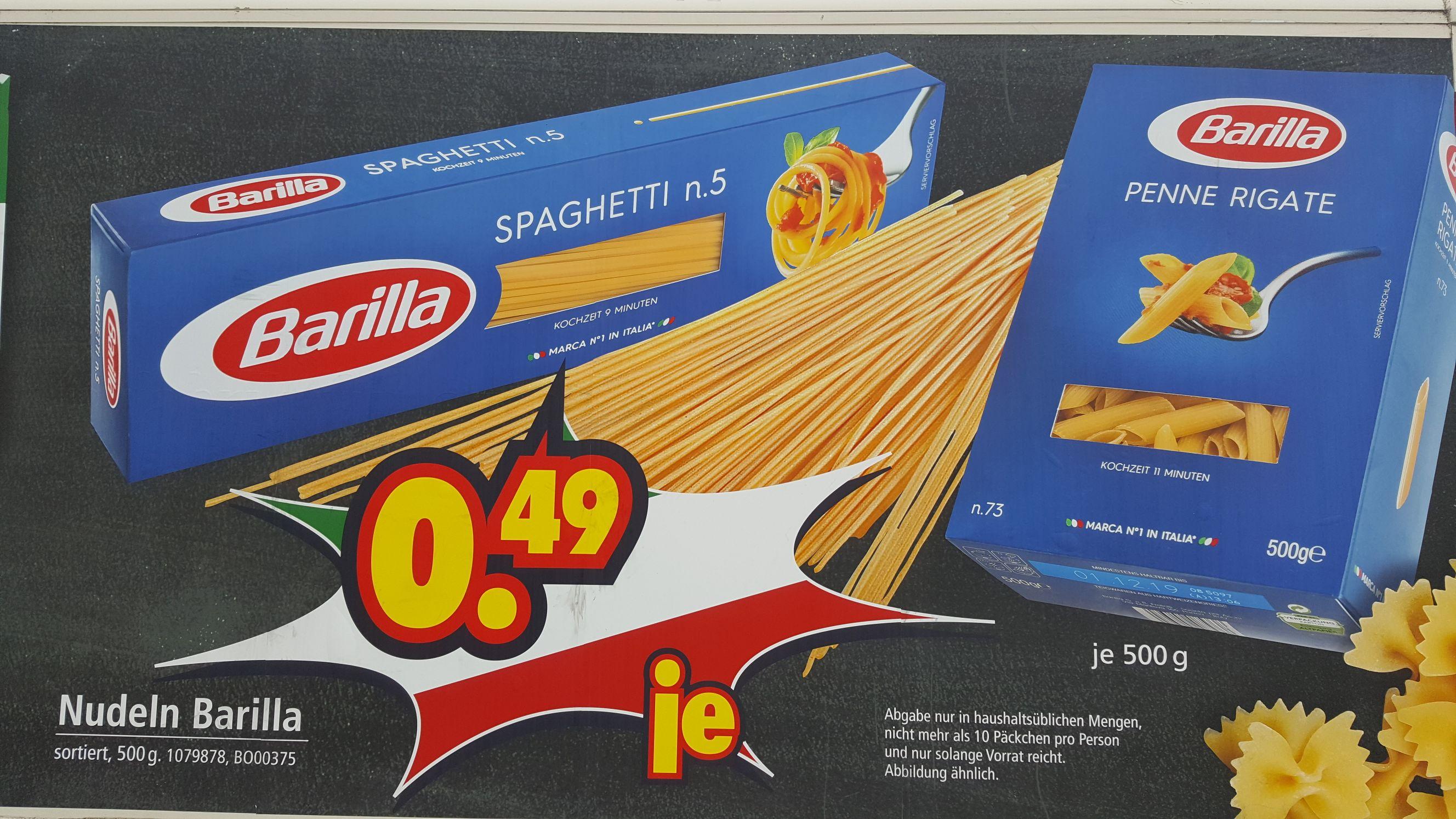 Barilla verschiedene Sorten 0,49 EUR je 500g