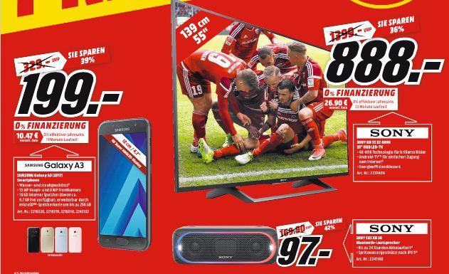 [Sammeldeal Mediamarkt ab Mittwoch 20.00 Uhr] Zb. Sony KD-55XE8096 Fernseher 139 cm (55 Zoll) (4K Ultra HD, Android-TV, X-Reality PRO, Triluminos Display) für 888,-€ etc...