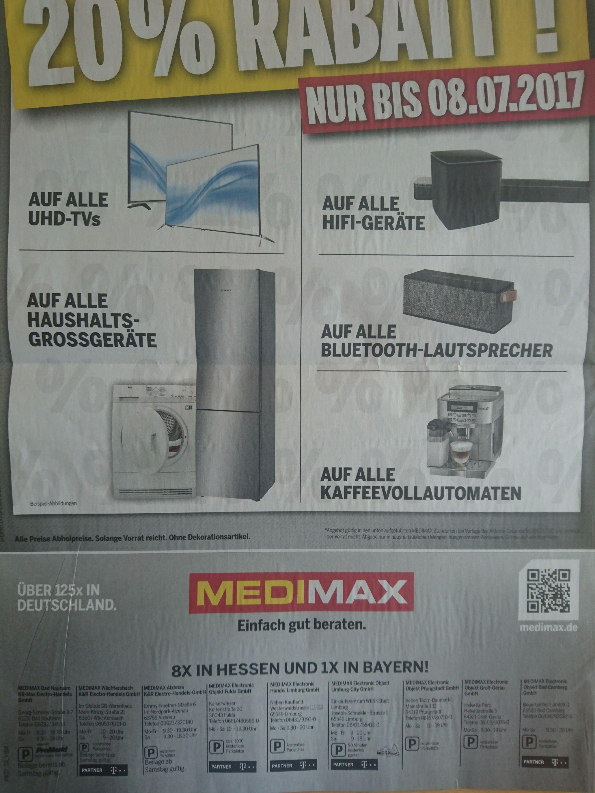 20% (Regional Hessen) Medimax: UHD TV, Großgeräte, Kaffee Automaten, BT LS, HiFi