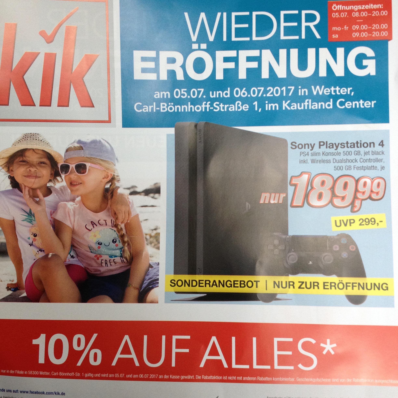PS4 Slim 500GB Wieder Eröffnungs Angebot bei Kik Regional Wetter Ruhr