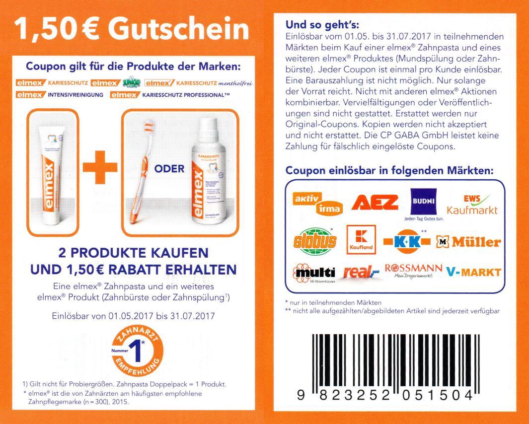 Neuer -1,50€ Regal-Coupon  auf 2 Elmex Produkte bis 31.07.2017 [Bundesweit]