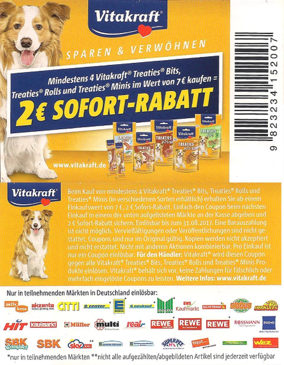 Neuer 2,00€ Regal-Coupon für 4x Vitakraft Treaties, Bits, Rolls oder Minis im Wert von 7,00€ [Bundesweit]