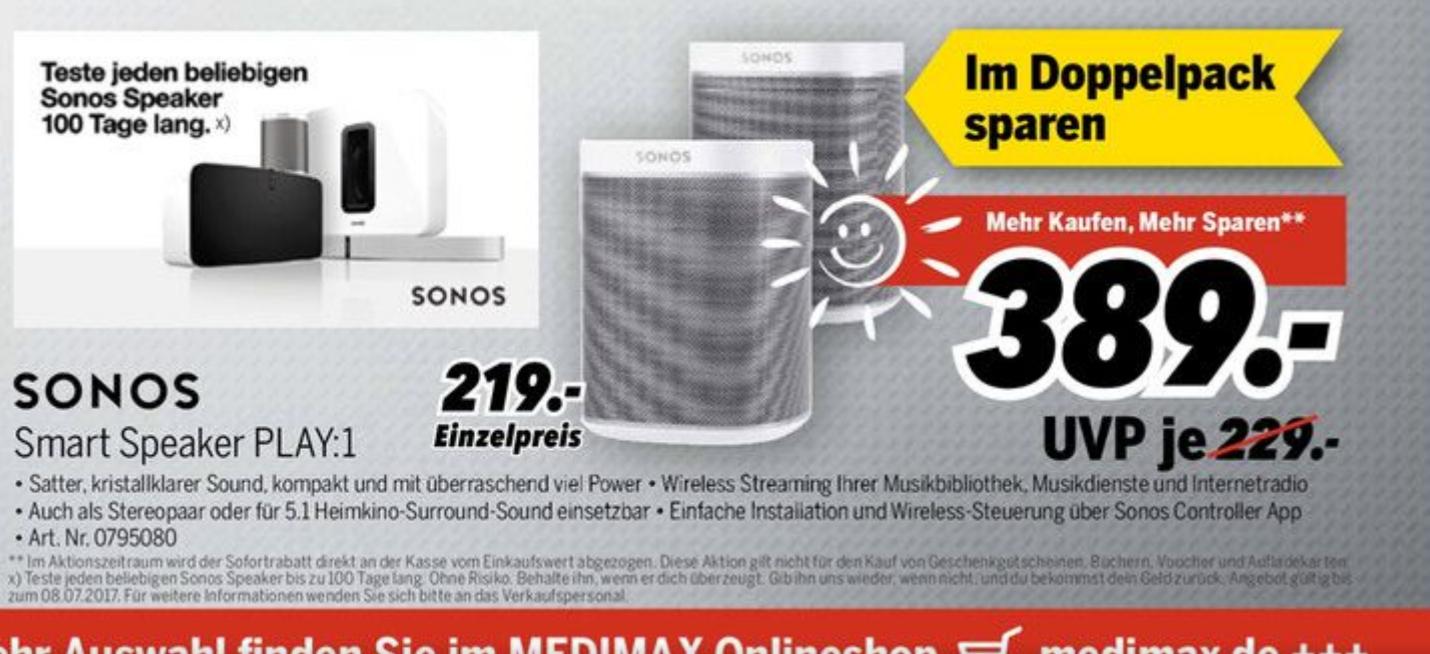 Lokal mediaMax Waldkirch: Sonos Play:1 Doppelpack,