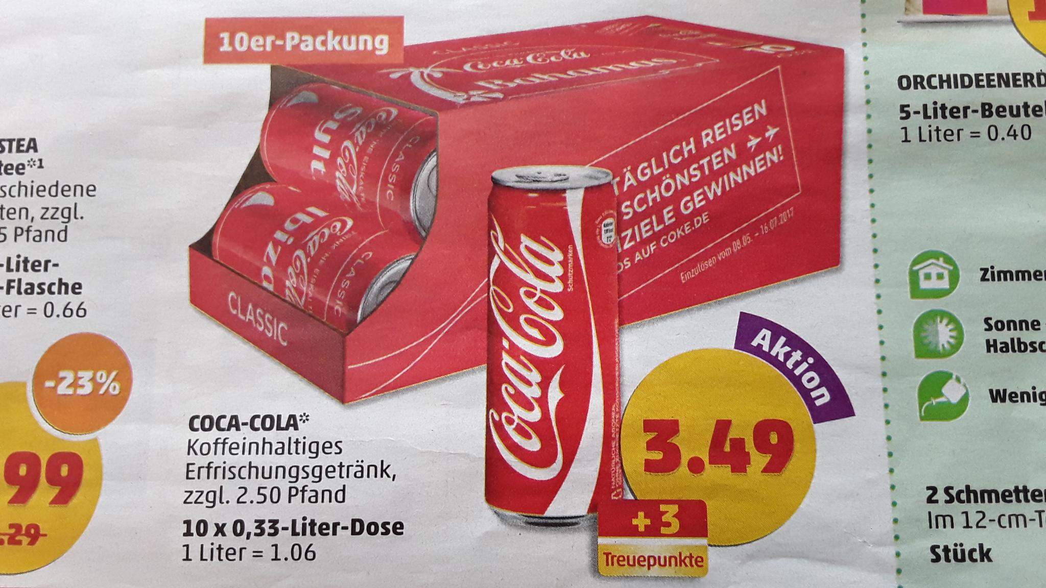Coca Cola 10x 0,33l Friendspack ab 3.7.17 für 3,49 € / Norma ab 7.7 für 3,33 € ( jeweils zzgl. 2,50 € Pfand @ Penny / Lidl/ Norma